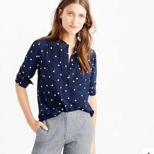 J. Crew silk popover polka dot shirt